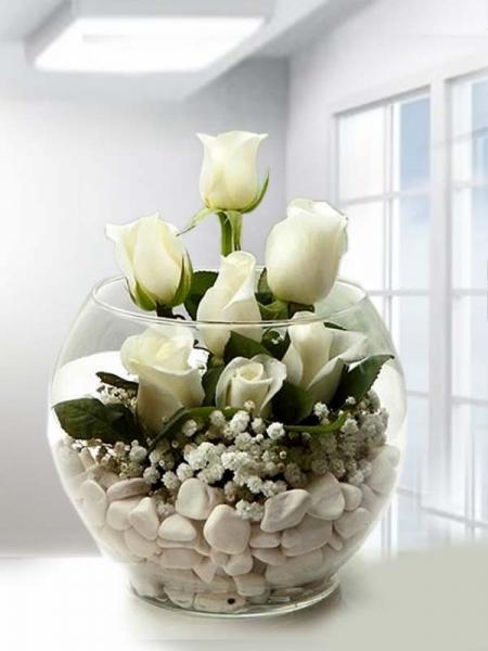 Akvaryum İçinde Beyaz Güller